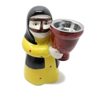 Grandmother In Yellow Thoub and Traditional Mask Incense Burner (Censer)