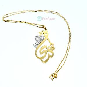 Name Necklace decorated with two hearts love silver color
