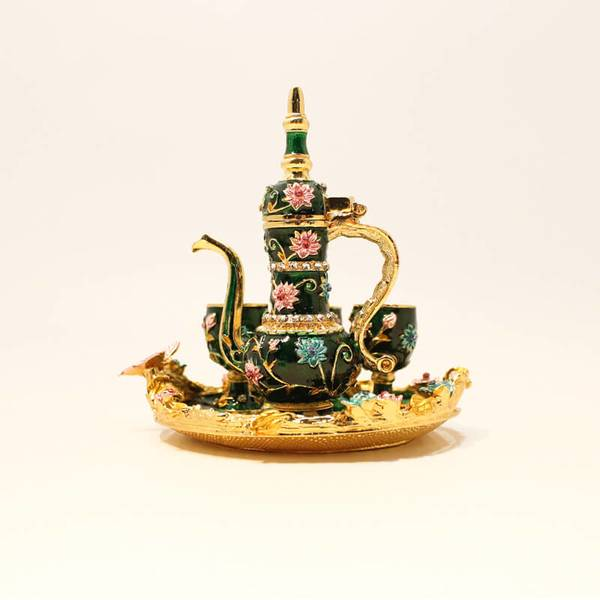 Decorative Coffee Pot, Three Cups and Tray | Decorated and Colored for Decorate House or Table.