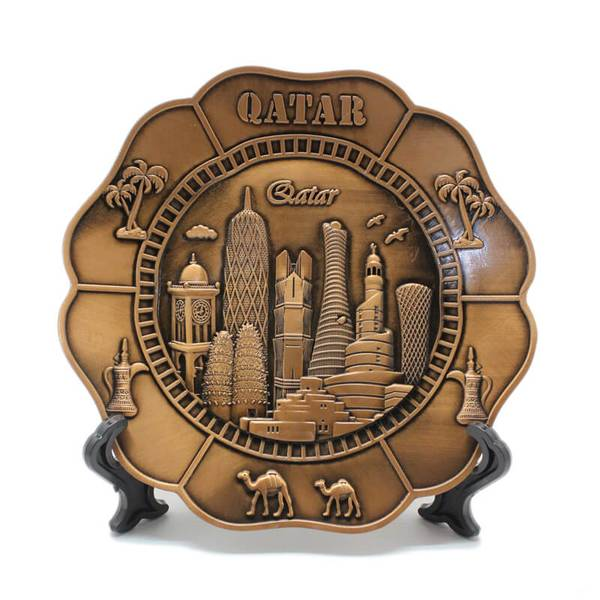 Flower Plate of Qatar Landmarks Design with Stand