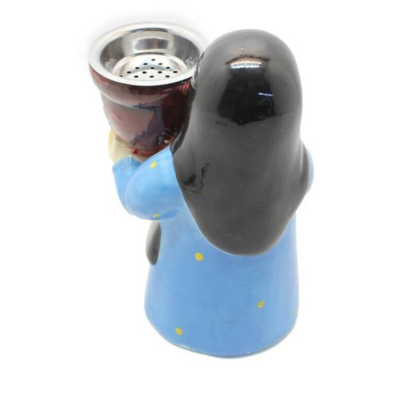 Grandmother Censer In Blue Thoub from the Wise Generation Wearing Traditional Mask Incense Burner (Censer)