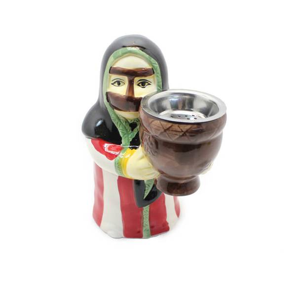 Grandmother In Her Mufahah Dress Striped with Red and White Incesne Burner (Censer)