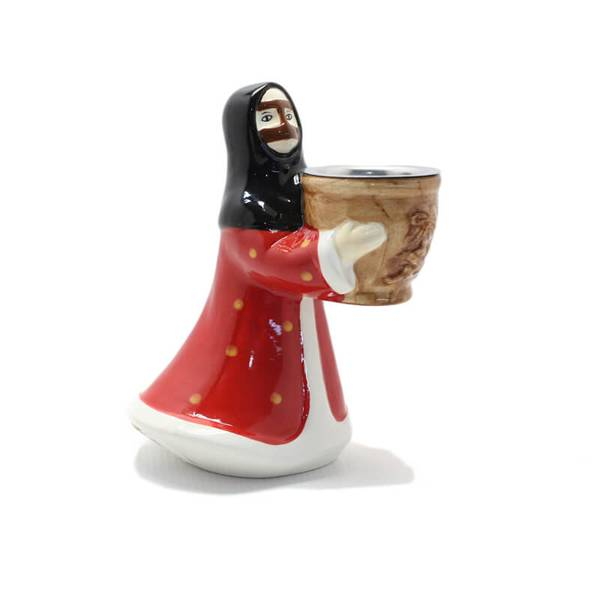 Aunt In Red Nashel Traditionl Dress Incense Burner (Censer) Made from Ceramic