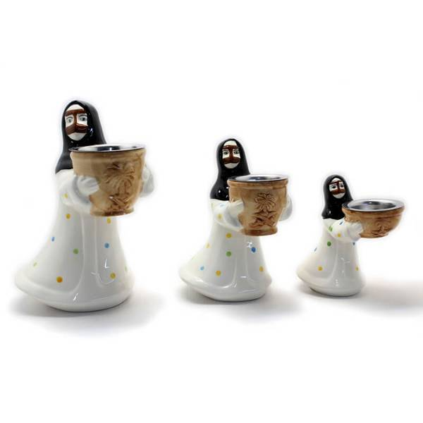 Aunt In White Nashel Traditionl Dress Coloured Incense Burner (Censer) Made from Ceramic
