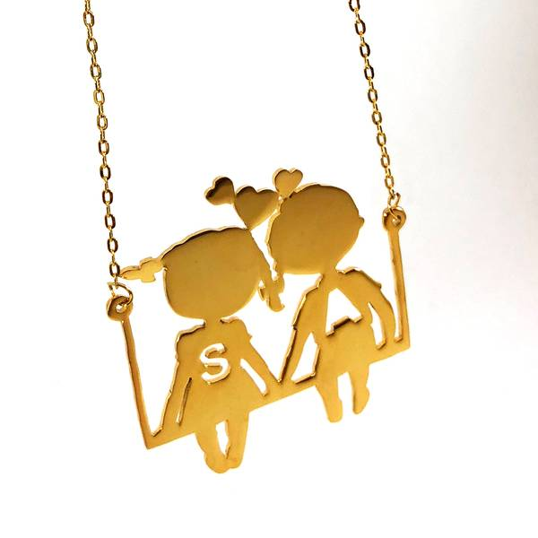 Letters Necklace in Childhood Style with two personalised outlined letters