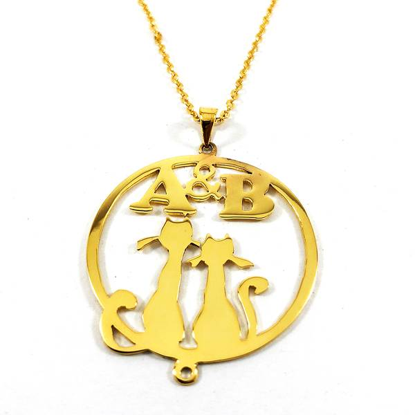 Circle Necklace for Two Initials with Pets Design on a Pendant