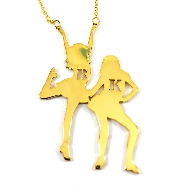 Dancing Girls Necklace with Two Personalized Letters