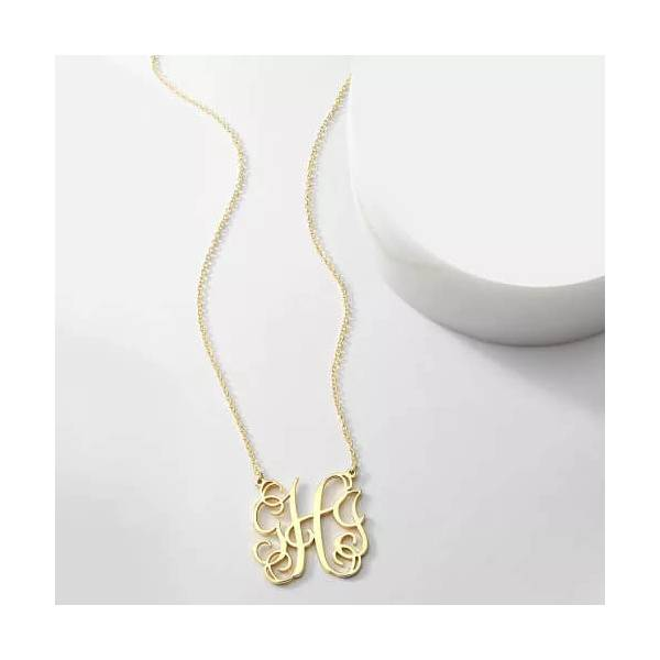 Stylish 3-Letter Necklace in Unique English Monogram Design